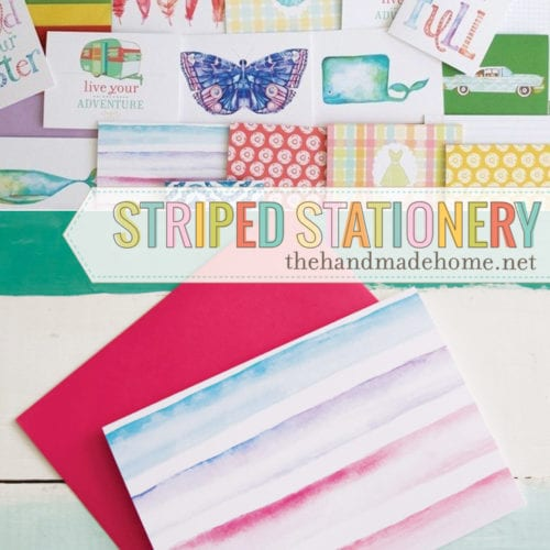 free striped watercolor stationery