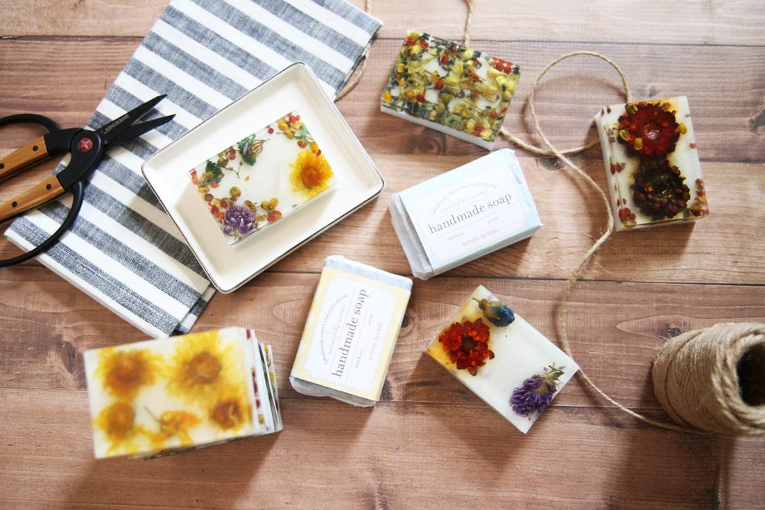 pressed flower soap