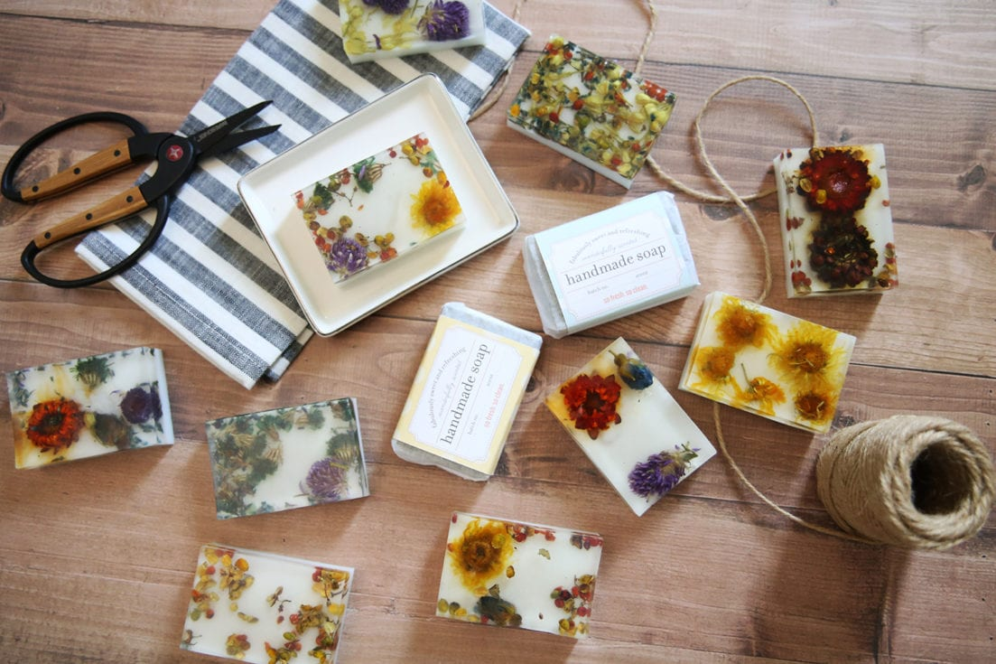 pressed flower soap