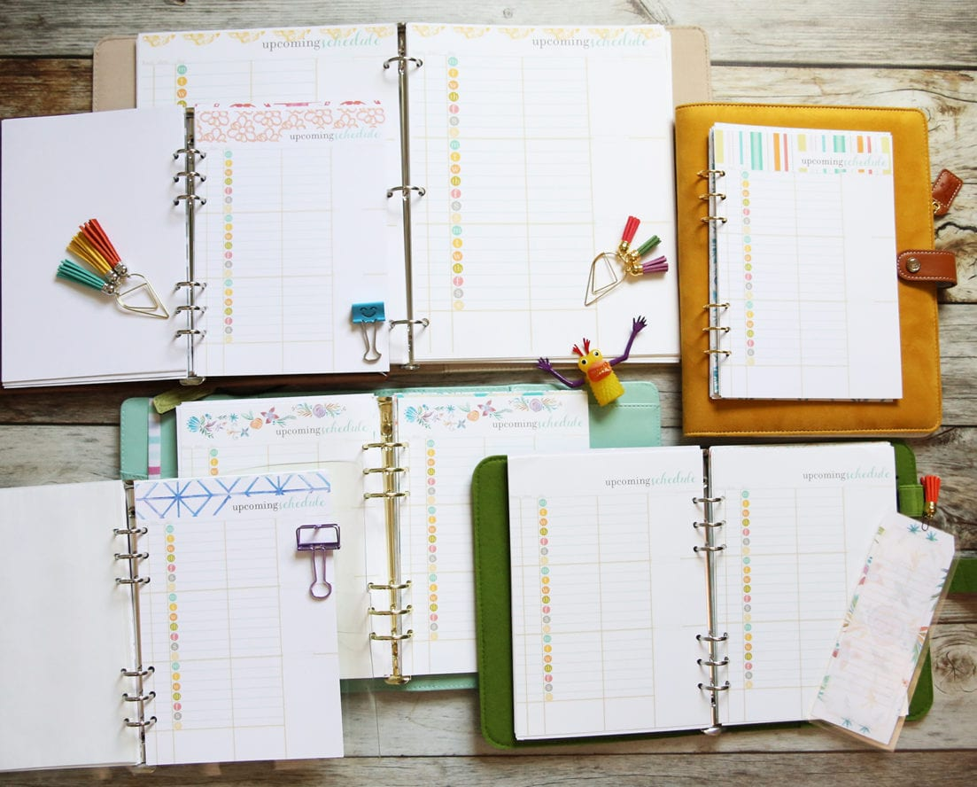 planner daily page inserts
