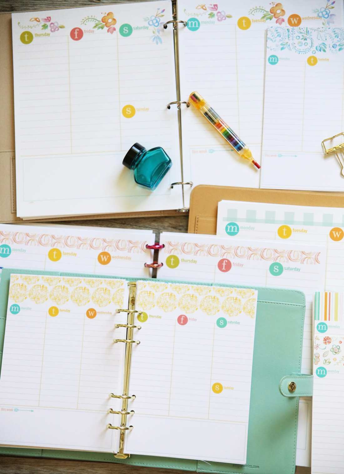 planner week inserts
