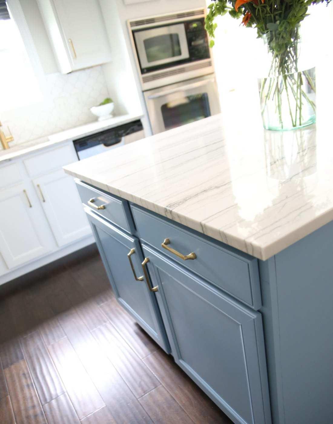 kitchen island with soft brass
