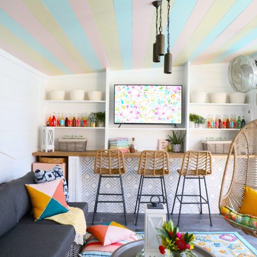 how to build a cabana: tile, bar shelving, screens, trim and stairs