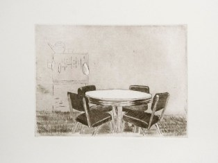 "Ruben Bryan Castillo, Dining Room Table, Etching with aquatint, 10""x 11.5"" http://rubenbcastillo.tumblr.com"