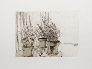 "Ruben Bryan Castillo, End Table, Etching with aquatint, 10""x 11.5"" http://rubenbcastillo.tumblr.com"