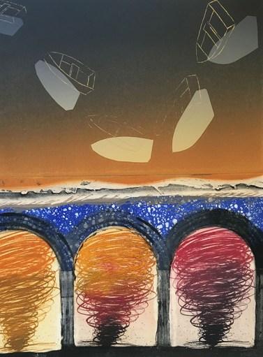David Manje (Mesa, AZ) Turn of Events II Monotype, photopolymer, intaglio, chine collé, paper litho
