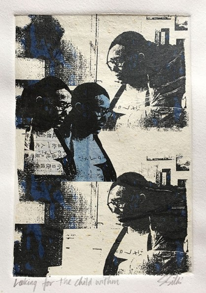 Sara Silks (Overland Park, KS) Looking For The Child Within Intaglio with Gocco printing and chine collé