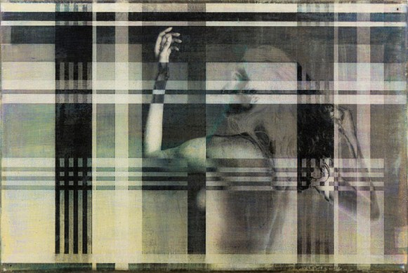 Francis Baker (Oakland, CA) Interactions, Plaid Gum bichromate on gesso panel with encaustic