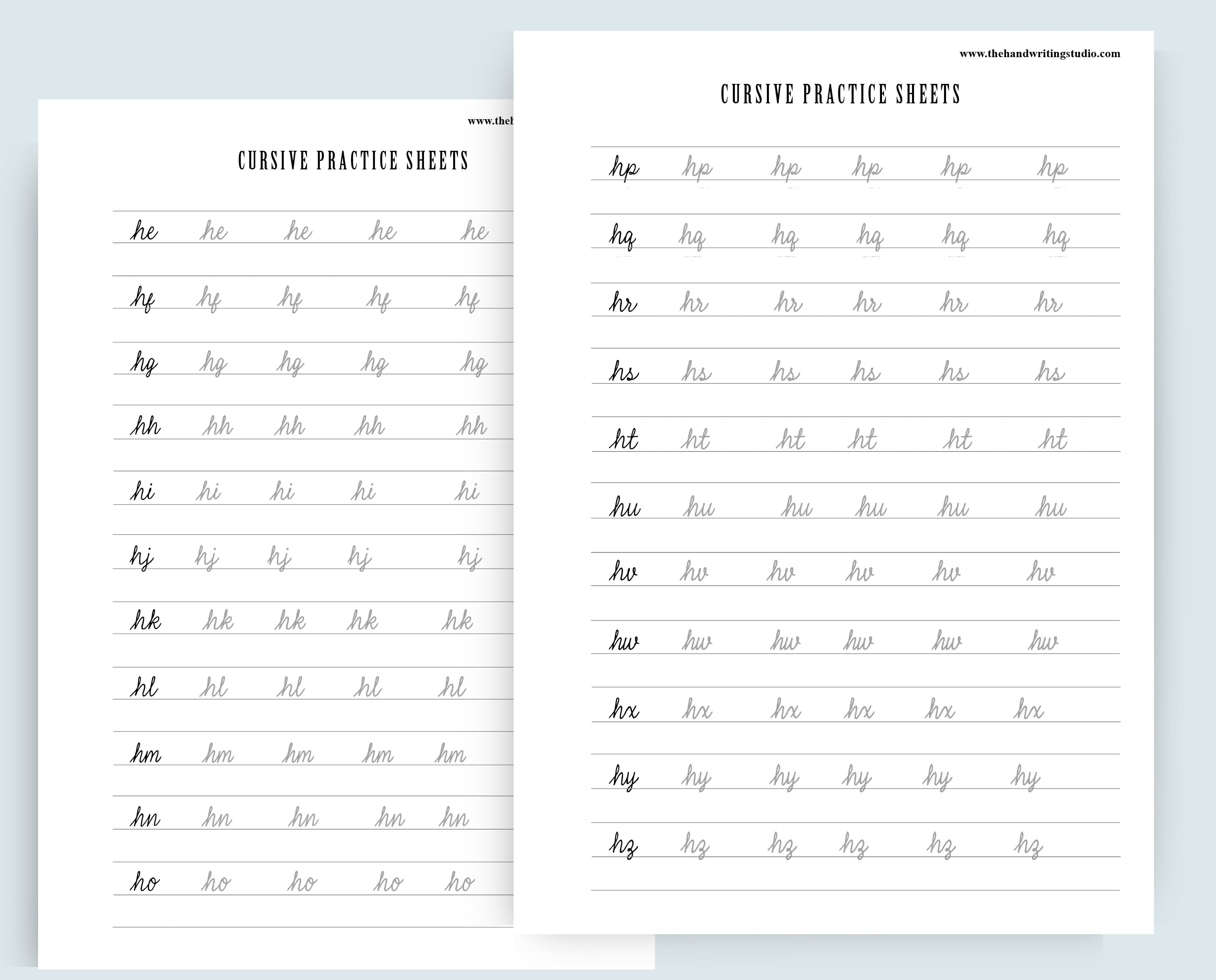 Cursive Practice Worksheets