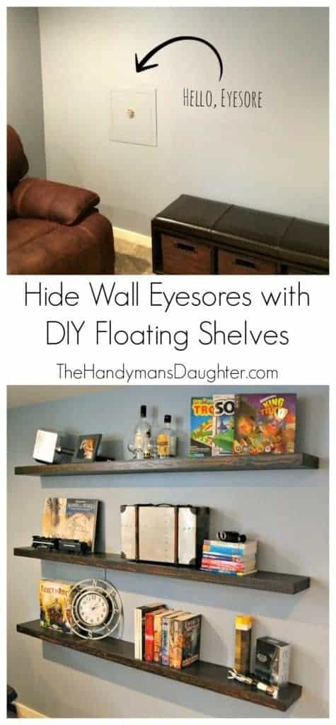 diy floating shelves for my living room table with chairs hide a wall eyesore the handyman s daughter do you have an like water shutoff valve in middle of your