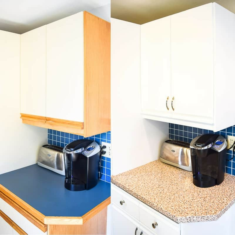 kitchen countertop cover nutone exhaust fan contact paper counter 2 years later the handyman s daughter 80s cabinets before and after painting