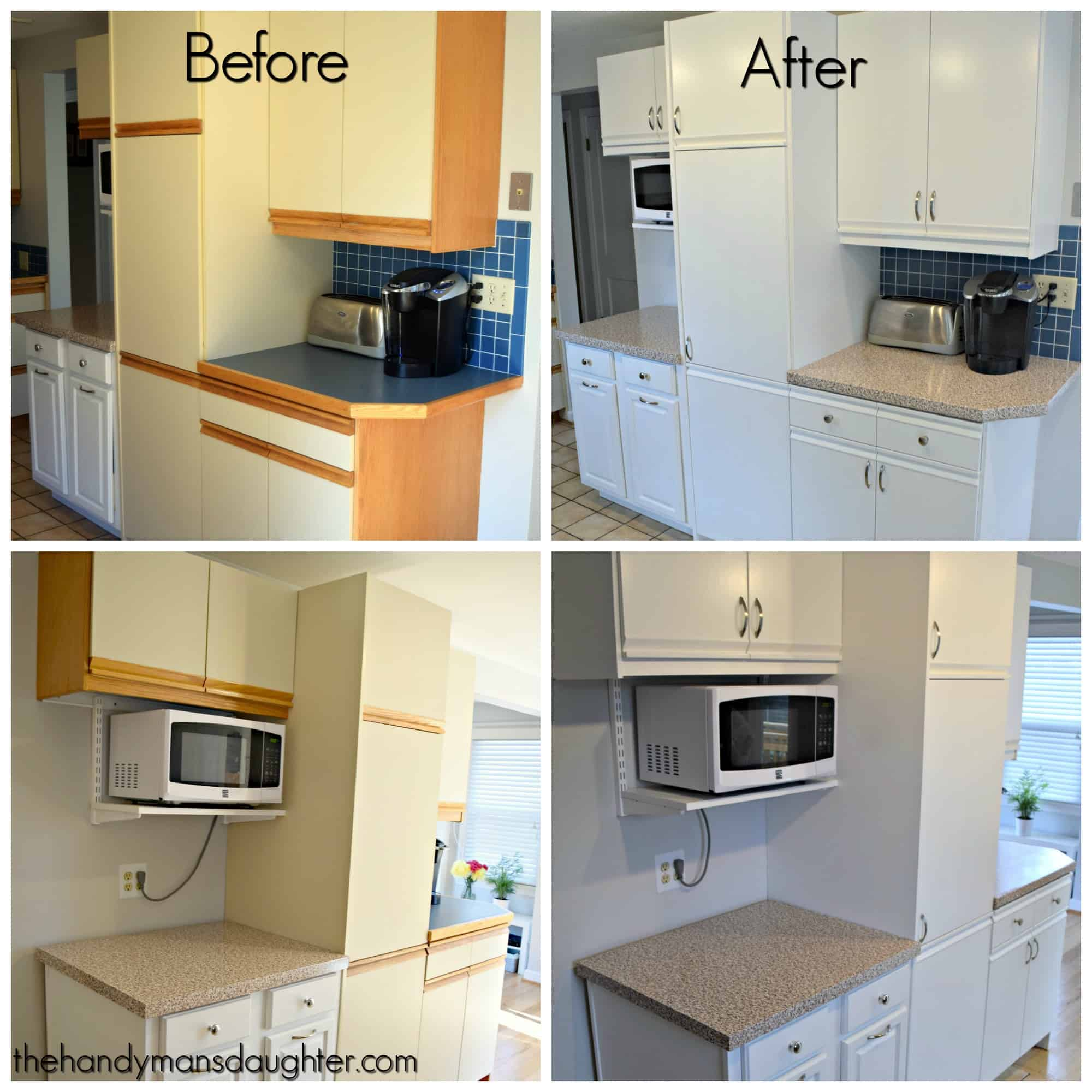kitchen trim cabinets amish tips for updating melamine with oak the handyman s before and after grid of photos showing painted