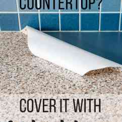 Kitchen Countertop Cover Glass Tile For Backsplash Contact Paper Counter 2 Years Later The Handyman S Daughter With Text Overlay Reading Ugly It
