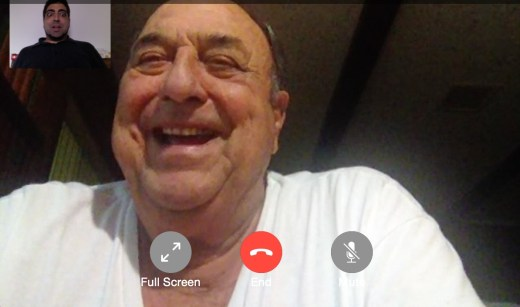 Mr. Gene Bacque and I talking on FaceTime. Looking great, sir! (Please excuse my funny face!)