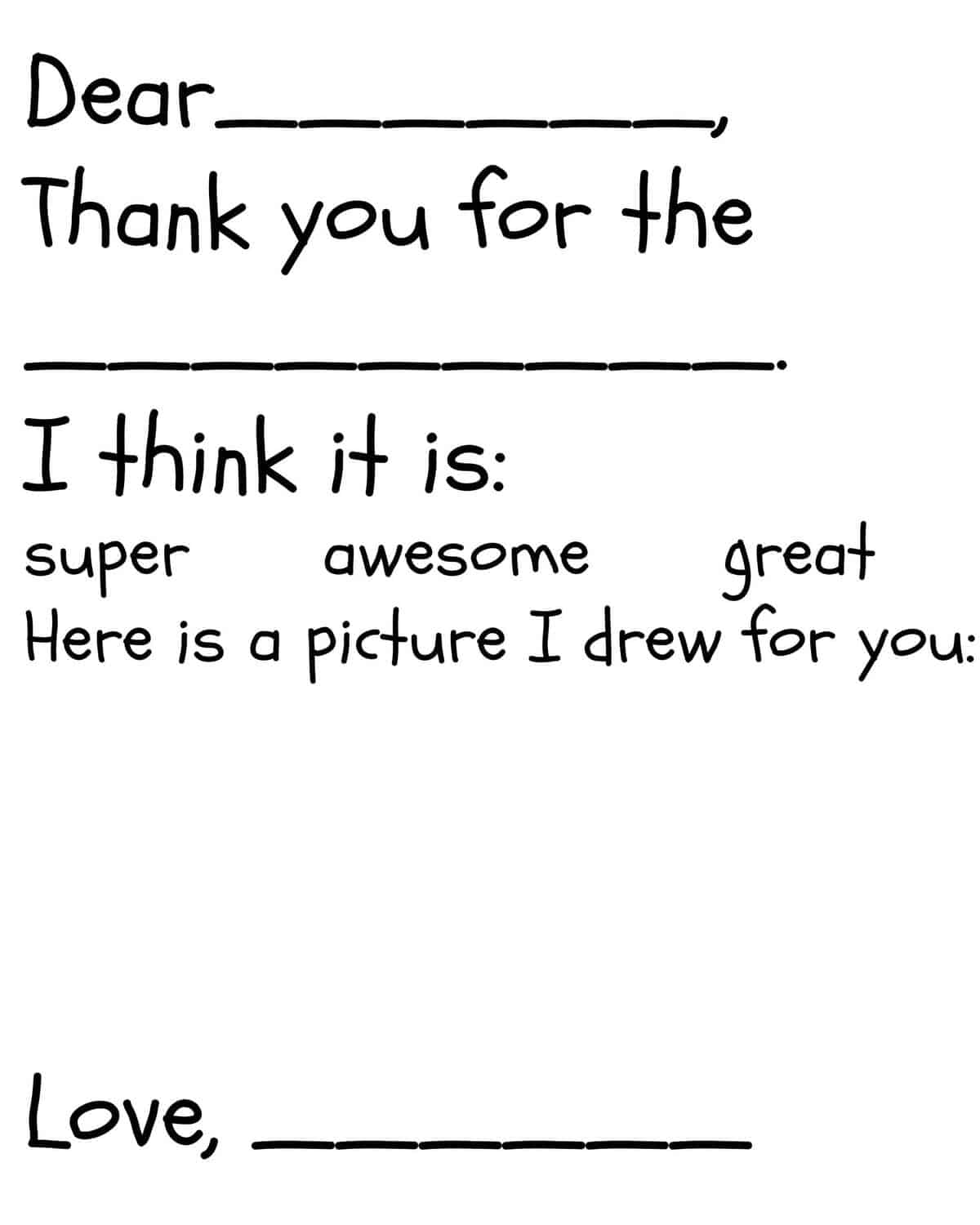 Kid S Thank You Card Printable