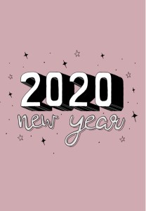2020 cover page for bullet journal - pink and monochrome lettering