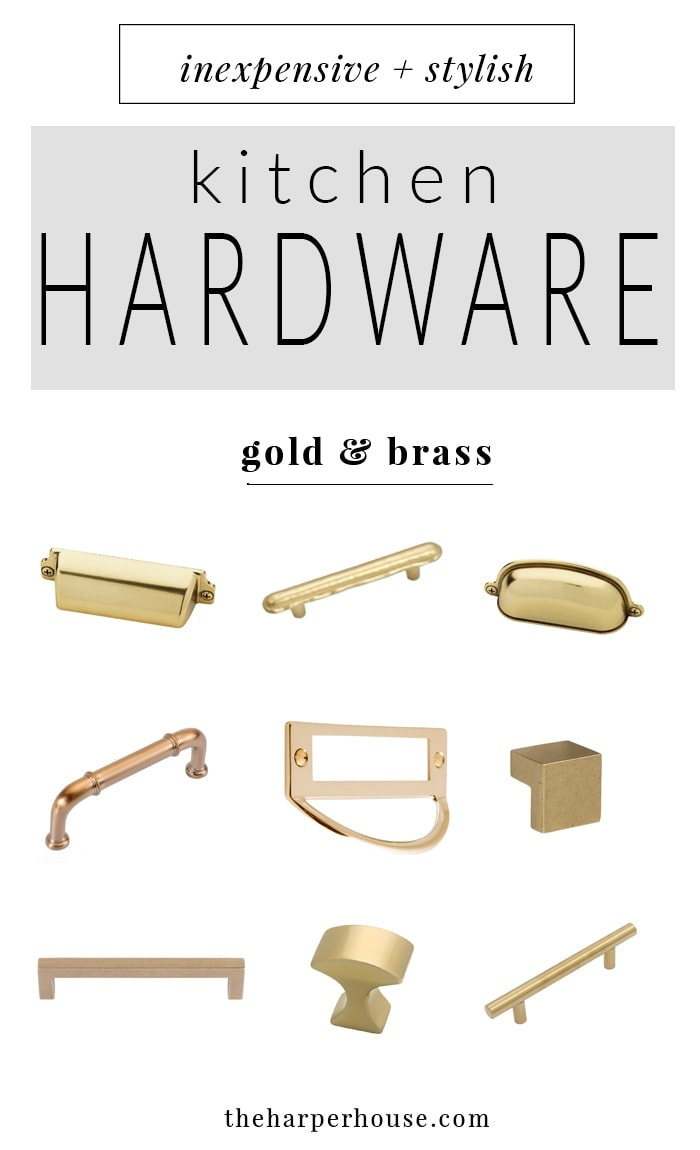 brass kitchen hardware island with bar stools 27 budget friendly options the harper house where to buy affordable knobs and pulls farmhouse style cabinet for