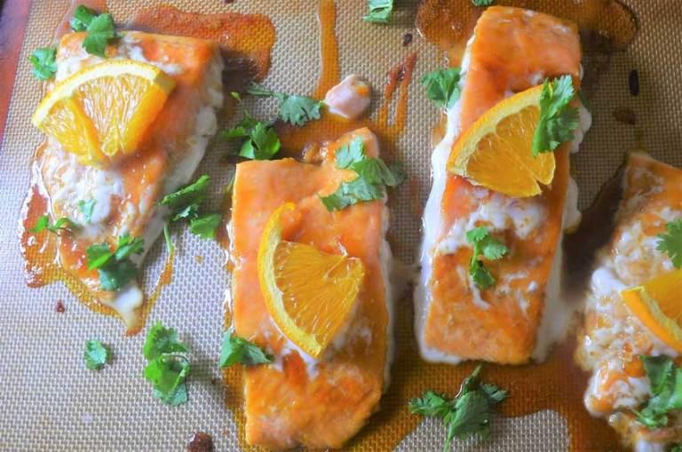 Orange ginger honey salmon, so good! Gluten-free, refined-sugar free, healthy