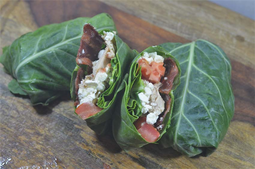 collard green chicken bacon ranch wraps
