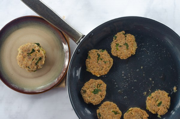 Salmon patties made with just a few ingredients - canned salmon, onion, egg, green onions and a few spices. Low-carb, ketogenic, Paleo, Whole30 compliant, dairy-free, gluten-free, grain-free.