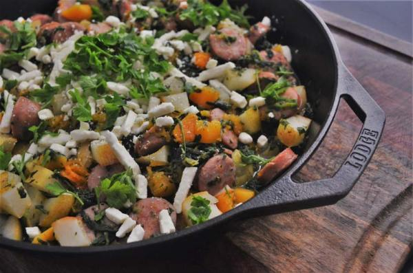 This harvest squash, pear and sausage skillet is PERFECT for autumn. It's full of healthy goodness and so easy to make in just one skillet! Gluten-free and grain-free.