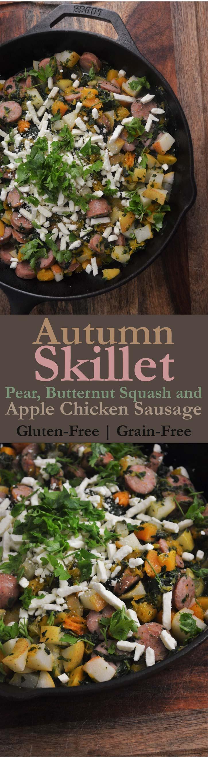 autumn chicken sausage feta butternut squash spinach pear gluten free grain free