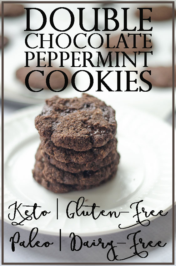 These chewy double chocolate peppermint cookies are so soft and gooey! They're also completely free of gluten, grains and sugar! Ketogenic, low-carb, gluten-free, grain-free, sugar-free.