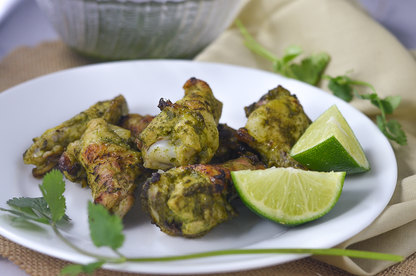 These cilantro lime chicken wings are a great appetizer for any Mexican-inspired meal. They are packed full of fresh-squeezed lime and tons of healthful green cilantro leaves. Gluten-free, grain-free, ketogenic, low-carb, Paleo.