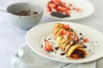 These keto crepes work great in a wide variety of meals. You can make them savory for a main course, or sweet for a breakfast or dessert treat. Super easy to make with just a few simple ingredients. These crepes are made with coconut flour, psyllium husk powder, eggs and water. For dessert crepes, add in your favorite berries and drizzle with melted chocolate. Low-carb, ketogenic, gluten-free, grain-free, dairy-free, sugar-free, Paleo.