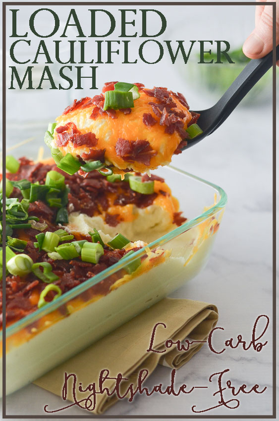 A delicious loaded cauliflower mash that rivals any good mashed potato recipe. Complete with tons of cheddar cheese, generous amounts of crispy bacon and lots of tangy green onions. You will certainly not miss those carb-filled potatoes, and may even impress some of your friends! Nightshade-free, low-carb, ketogenic, gluten-free, grain-free.