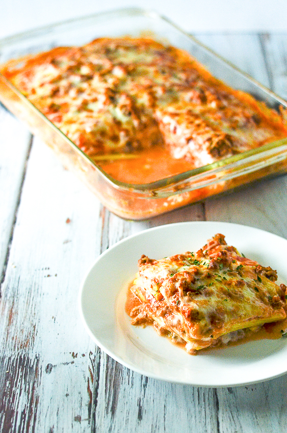 Summer squash lasagna, looks and tastes very similar to a traditional lasagna recipe but much healthier! Make with either zucchini or yellow squash that is thinly sliced lengthwise with either a mandoline slicer or a knife. Gluten-free, grain-free, low-carb and ketogenic.