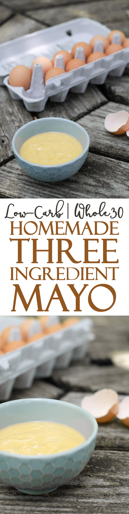 A tasty homemade three-ingredient mayo recipe that does not require any electric mixers to make! Simply shake in a sturdy jar to make! Gluten-free, grain-free, dairy-free, Paleo, ketogenic, low-carb, Whole30.