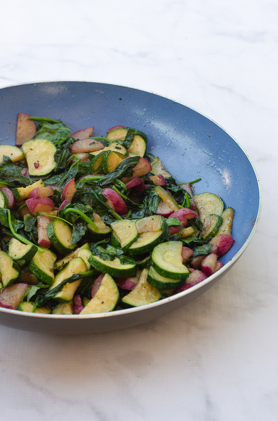 An easy one-pan side dish, this zucchini, radish and spinach skillet is cooked in bacon grease and is full of healthful veggies! Gluten-free, grain-free, dairy-free, low-carb, ketogenic and Paleo.