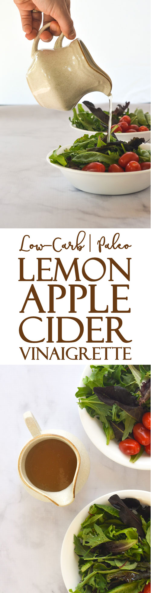 An incredibly simple lemon apple cider vinaigrette. Sweet and tangy, it's a great addition to any salad. Great for those avoiding sugar, who are Paleo, ketogenic, vegan and low-carb.