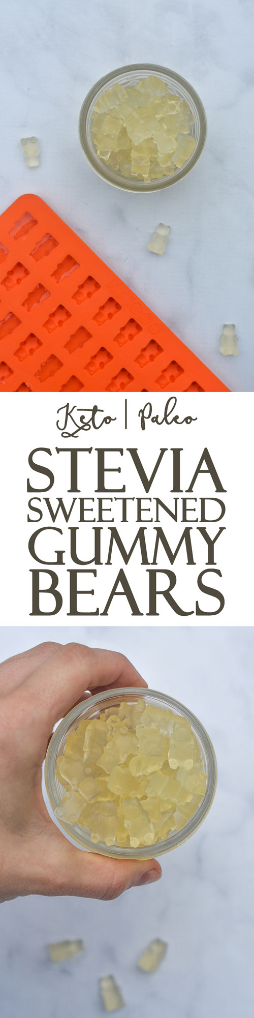 A yummy snack for both kids and adults alike, these homemade stevia-sweetened gummy bears are a fun treat to make! Super simple to customize, just throw in your favorite flavoring. Keto, sugar-free, low-carb, Paleo.