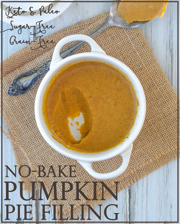 A delicious and smooth no-bake pumpkin pie filling for one. Paleo, keto, gluten-free, grain-free, sugar-free, dairy-free, soy-free.