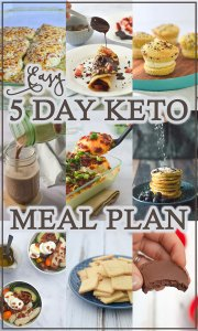 Not sure where to start with your keto diet? This 5 day easy keto meal plan is a great place to begin! Gluten-free, grain-free, low in dairy and sugar-free.