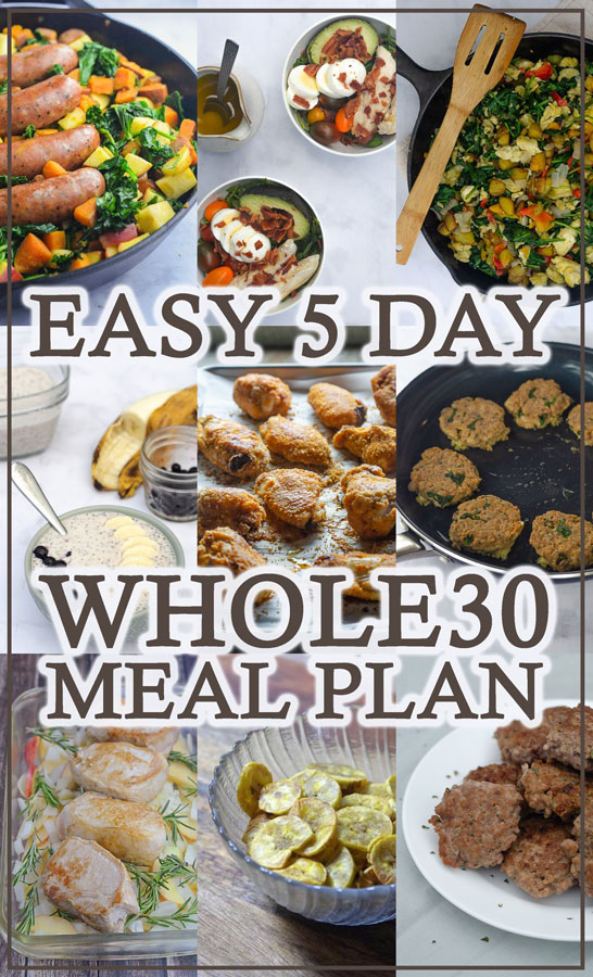 Looking to start a round of Whole30, and in need of some quick and easy meal ideas? This 5 day Whole30 meal plan will help get you started! Gluten-free, grain-free, dairy-free, Paleo.