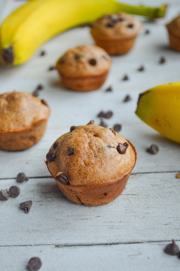 Banana Chocolate Chip Mini Muffins – Paleo, Gluten-free, Dairy-free