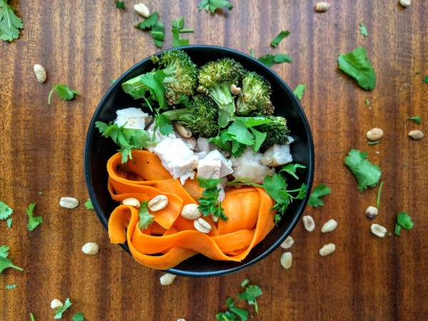 Peanut Sauce with Chicken, Carrot Noodles and Roasted Broccoli
