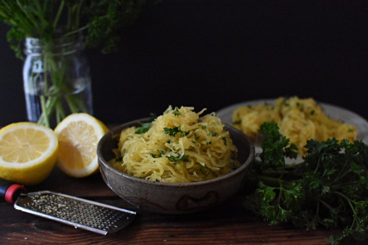 Lemon Garlic Butter Spaghetti Squash