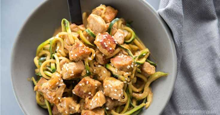 Crispy Keto Pork Lo Mein with Zoodles (30-minutes)