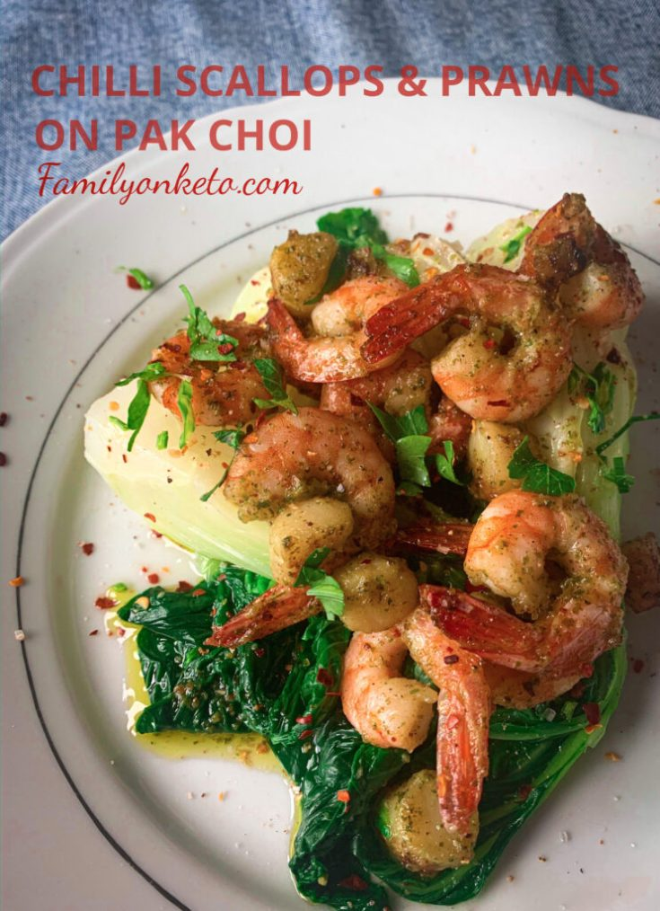 Chilli scallops and prawns on pak choi