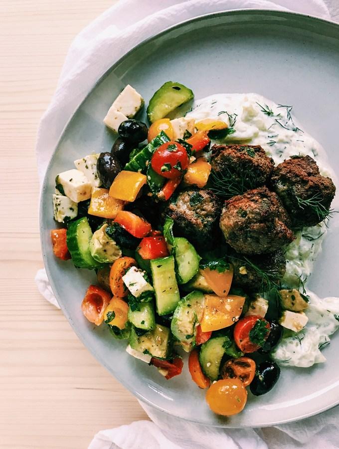 Greek Lamb Meatballs with Tzatziki Sauce