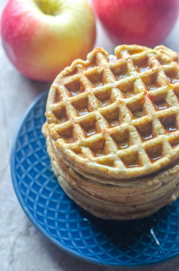 These delicious apple cinnamon waffles are a tasty weekend breakfast. Filled with fresh apples and healthy coconut flour. Paleo, gluten-free, dairy-free.