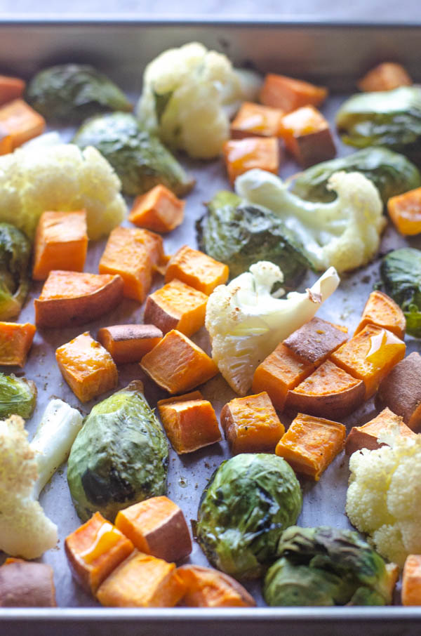 These basic sheet pan roasted veggies are a simple and nutritious side dish, perfect for literally any meal! Whole30, Paleo, vegan, gluten-free, dairy-free.