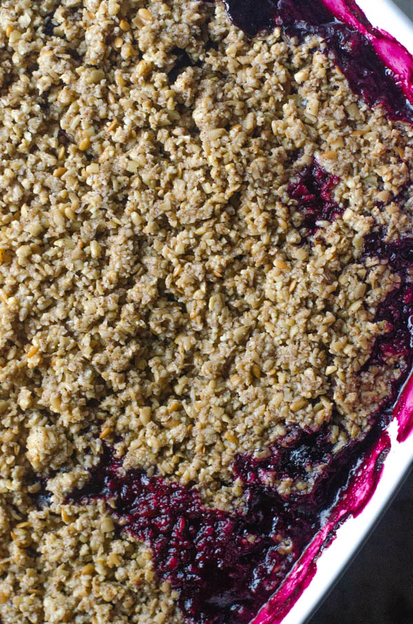 This Paleo blueberry crumble is the perfect dessert for when you have a surplus of blueberries from the garden. Gluten-free, dairy-free, vegan.