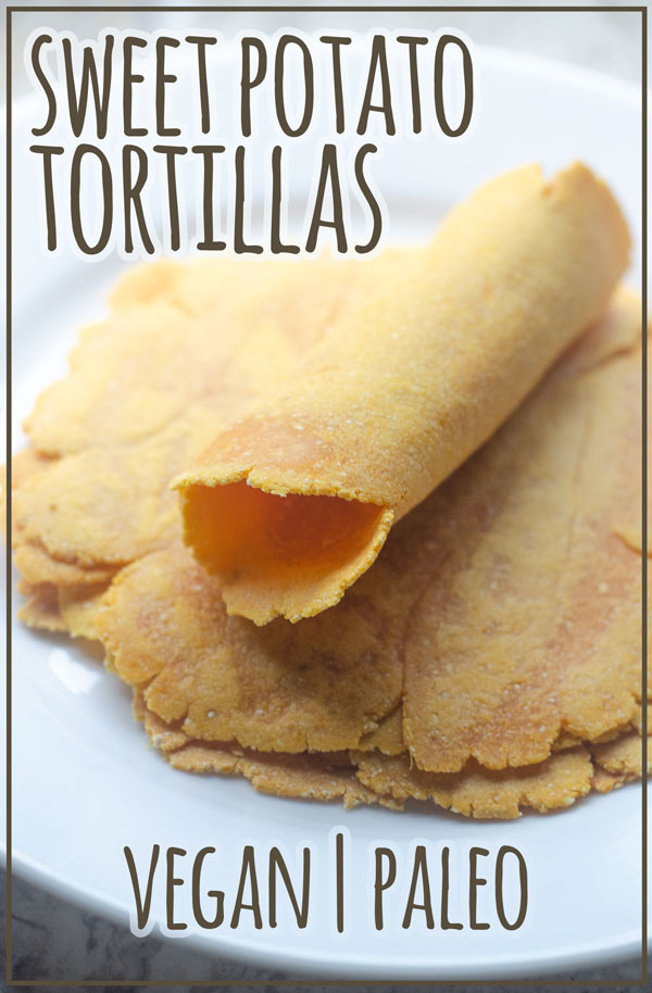 A simple three-ingredient recipe, these sweet potato tortillas are a delicious side dish for just about any meal! Paleo, grain-free, vegan.
