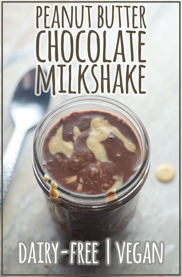 A delicious treat, this peanut butter chocolate milkshake is rich and tasty! Dairy-free, vegan.