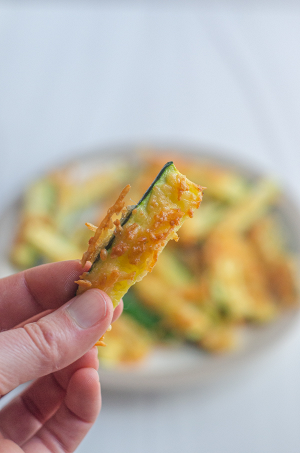 Crispy air-fried zucchini fries are a delicious appetizer or side dish. Perfect for any keto, low-carb or primal meal.